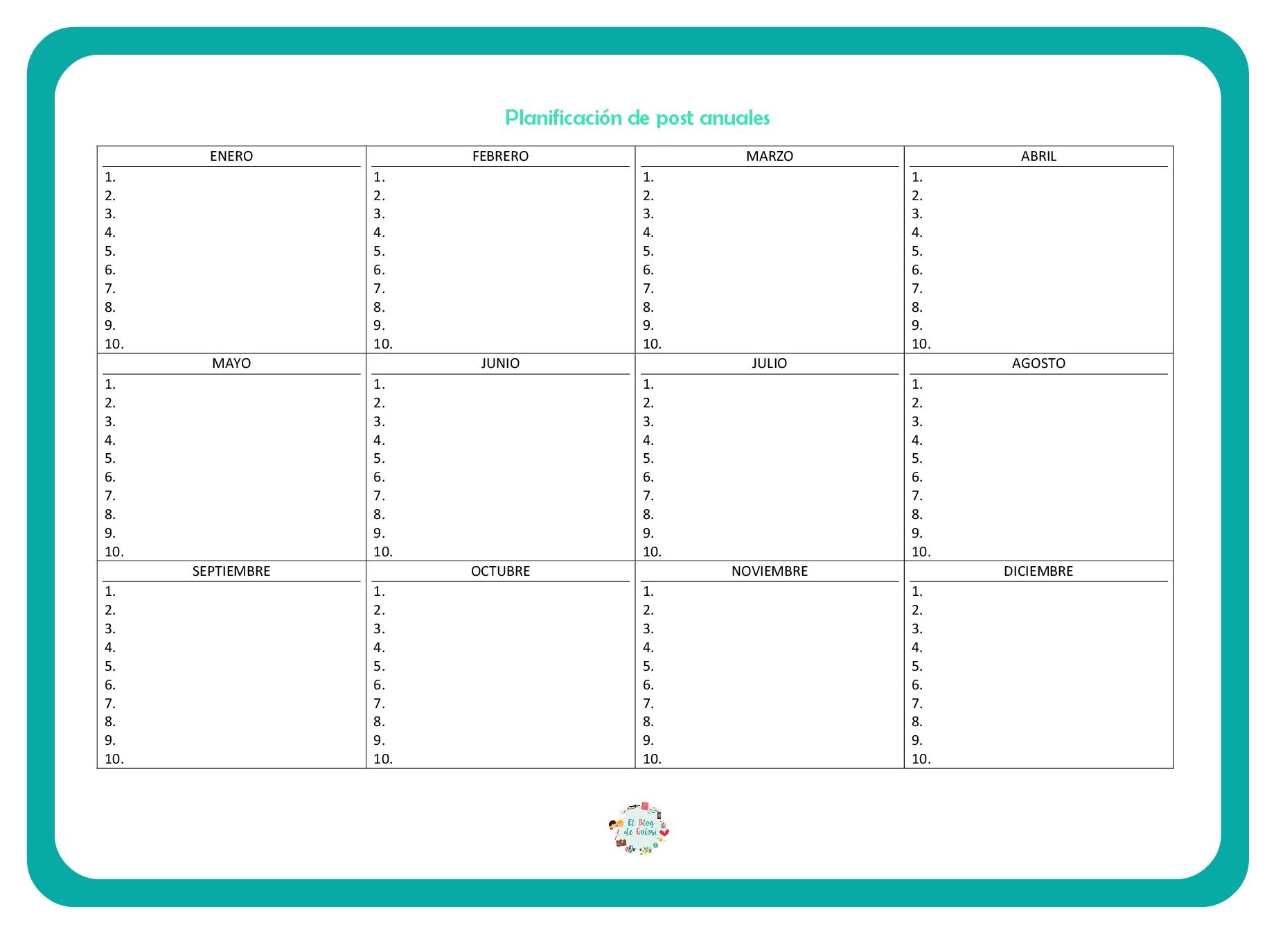 Plantilla planificación anual de post para el blog