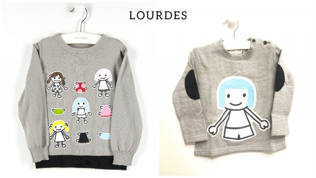 Niño y niña conjuntados con Lourdes